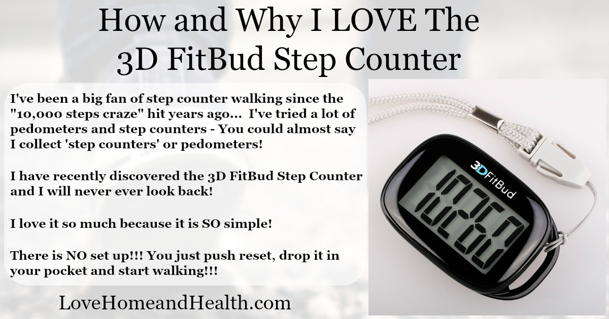3d FitBud Step Counter - digital Step Counter - Love, Home and Health